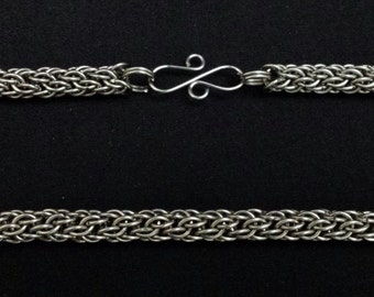 Stainless Steel Candy Cane Cord Chainmaille Necklace