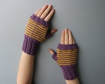 Acrylic Blend Yarn - Wrist Warmers - Fingerless Gloves / Fingerless Mittens - Stripes Mitts Yellow & Purple, Honey, Mustard, Violet