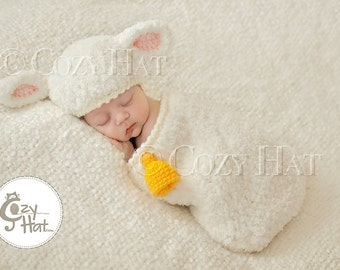 Lovely Lamb Cocoon and Hat Set with a bell for Newborns and up Made to Order