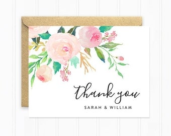 Boho Thank You Card, Personalized Wedding Thank You Cards