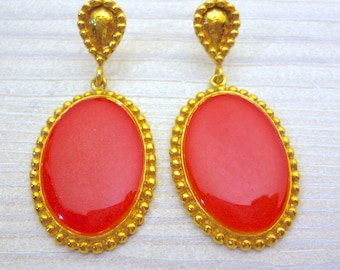Vintage Style Earrings, Coral Earrings, Wedding Earrings, Big Earrings, Elegant Earrings, Old Modern Style, Bridesmaid Earrings, Boho Chic