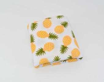 Pineapples Swaddle Blanket, Girl Swaddle Blanket, Summer Receiving Blanket, Pineapple on White Swaddler, Lightweight Cotton Blanket