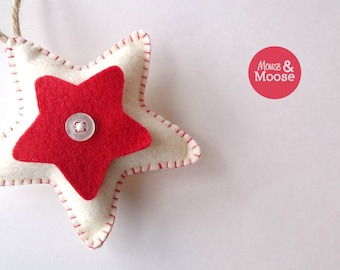 100% Wool felt star decorations. Soft, child friendly ornament. Eco friendly and sustainable christmas decoration.