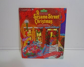A Sesame Street Christmas Illustrated Vintage 1982 Children's Book by Golden Books w Stories, Songs, Recipes and Activities for the Holiday