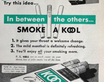 1940 ad Smoking Penguin art Kool Cigarettes Vintage Print Ad ETK203