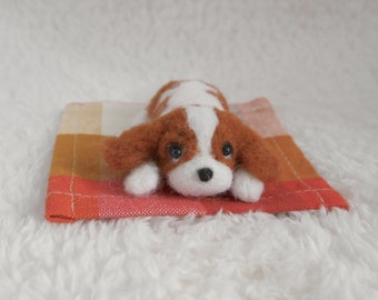 READY TO SHIP/ Needle Felted / Cavalier King Charles Spaniel / mini blenheim 03