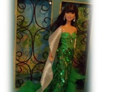"""St Partricks Day Ballgown """"Dreaming of Ireland"""" Green Teardrop Sequin Evening Gown &White Sheer  Feathered Stole. Handmade Barbie Clothes"""