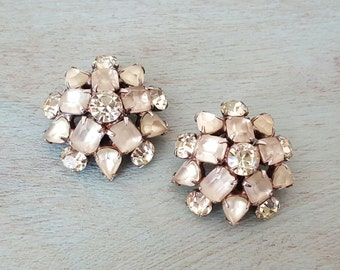 Vintage 1940s Canary Yellow Pastel Rhinestone Clip Earrings