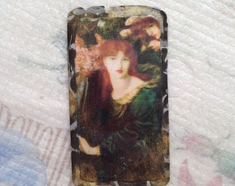 Vintage Image of Woman in the Pre Rapaelite style, Millais, resin pendant, vintage painting pendant, jewelry component