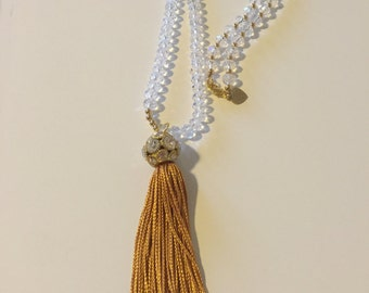 Clear crystals with tassel