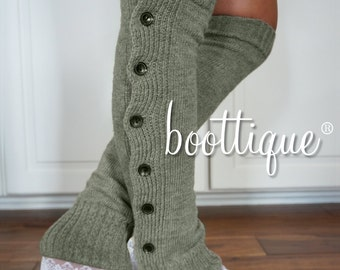 Boot Cozies: High Quality Lace and Button Leg Warmers and Boot Socks; NEW COLOR- London Fog!