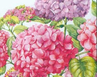 4 Decoupage Paper Napkins | Pink & Purple Hydrangeas | Floral Napkins | Garden Napkins | Hydrangea Napkins | Paper Napkins for Decoupage