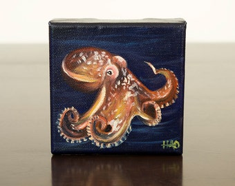 Octopus Painting, Original Oil Painting, Ocean Decor