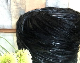 Vintage 1960's Woman's Black Feathered Hat