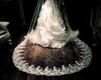 Wedding veil lace, 2 tier wedding veil, lace fingertip veil
