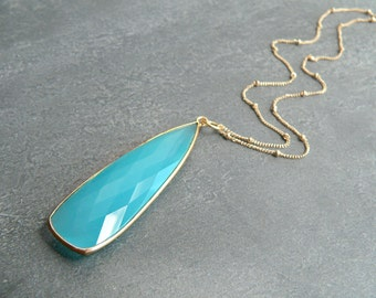 Aqua Chalcedony Gold Necklace