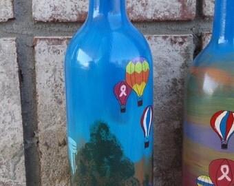 One Hot Air Balloon hand painted wine bottle vase Fuquay Varina, NC