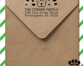 Custom return address stamp with dog & hearts - personalized self inking stamp - your choice of Smooshface dog breed or other breeds
