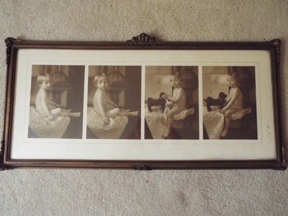 Vintage Baby Wall Decor : Antique framed baby photos nursery wall art vintage infant