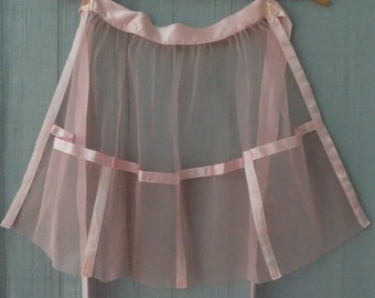 Vintage Kay Shannon Mid Century Tulle and Satin Pink Apron | Sheer Mesh Fancy Hostess Half Apron