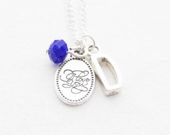 I Love You Necklace, Gift for Mom, Love Jewelry, Silver Birthstone Jewelry, Initial Necklace, Girlfriend Gift, Wife Gift, Anniversary Gift