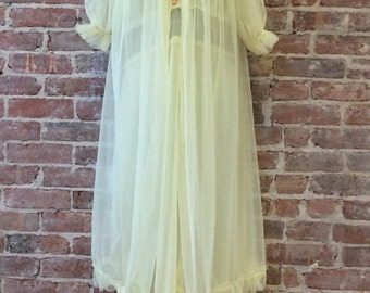 Sale 3 Days Only L Vintage Peignoir Set - Sheer Nightgown and Peignoir - 1950s Yellow Negligee
