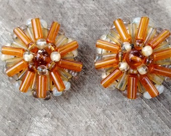Vintage Amber Colored Glass Beaded Clip On Earrings