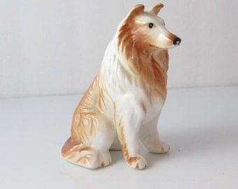 Rough Collie Glossy Figurine Bone China Unmarked White/ Caramel Brown Vintage - 3 Inches