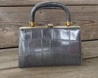 Gray Faux Leather Vintage Handbag