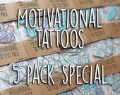 Band-Aid Tattoos ~ MultiBuy Special ~ Any 5 Motivational Self Care Temporary Tattoo Packs ~ Healthy Goals Holistic Habits Valentines Gift