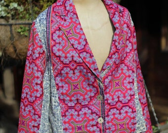 Thai Hill Tribe Embroidered Peplum Gypsy Jacket