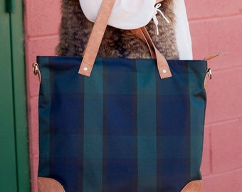 Monogrammed Plaid Shoulder Bag