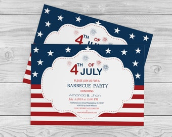 4th of July, Independence Day, BBQ/Celebration/Party Invitations Editable PDF Templates - 5 x 7 Red White Blue Party Invite - DIY You Print