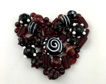 50  glass beads red black color and grey 6mm to 20mm #PV038-1