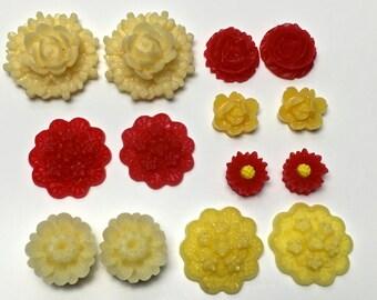 14 pcs resin cabochon flowers ,assorted sizes,#FL139