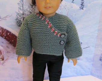 Kimono Sweater for 18'' dolls . Wrap Sweater . Nice Winter Wear- Warm Sweater, Winter Wear, Outdoor Wear,Pretty Sweater, Fancy Sweater
