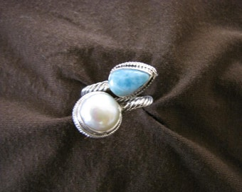 Sterling Silver Blue Larimar and Pearl Ring
