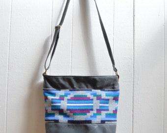 Waxed Canvas Crossbody Bag with Oswego Bay Pendleton® Fabric / Zippered Purse / Messenger Bag