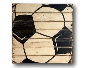 Wood Soccer Ball Sign - Soccer Bedroom Decor - Soccer Gift - Soccer Player Gift - Sports Banquet Gift - Coach Gift - Sports Bedroom Decor