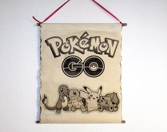 Pokemon Go Poster, Pokemons Pikachu, Bulbasaur, Charmander, Squirtle, Popular Video Game Poster. Pokemon Handmade Scroll Poster, Game Poster
