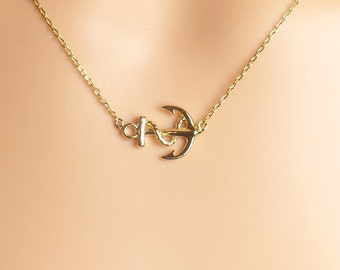 Gold anchor necklace,nautical necklace,beach jewelry,resort, dainty necklace,gift idea,christmas present