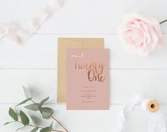 Rose Gold Foil Invitation Th St Birthday Printable Elegant - 21st birthday invitations gold coast