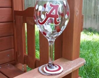 University of Alabama Wine Glass, Hand Painted Wine Glass, Football Wine Glass, College Wine Glass, Roll Tide Wine Glass, Bama Wine Glass