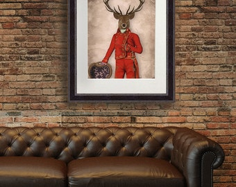 Fine Art Print Deer in Red and Gold Jacket Deer print deer portrait stag portrait stag fine art anthropomorphic art uk seller only wall art