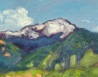 Pikes Peak, matted high quality print, from plein air impressionist painting