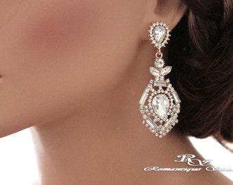 ROSE Gold bridal earrings Art deco earrings Wedding jewelry vintage style Wedding earrings Chandelier earrings Rhinestone earrings 1255G