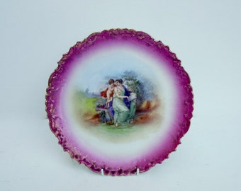 Limoges Fine French Porcelain Early Gilded Cabinet Display wall plate Risque Cherubs Putti
