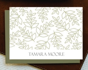 Personalized Note Cards / Personalized Stationery / DOTTED LEAFS / Set of 10 cards+envelopes / Custom Personalized Note Card Set