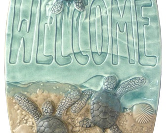 "Art tile, ""Baby sea turtle Welcome""  ceramic tile,  5x6 inches"