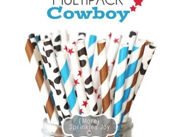 COWBOY Paper Straws, Multipack, Blue, Brown, Cow, Western, Star, Dots, Vintage, 25 Straws, in 5 Designs